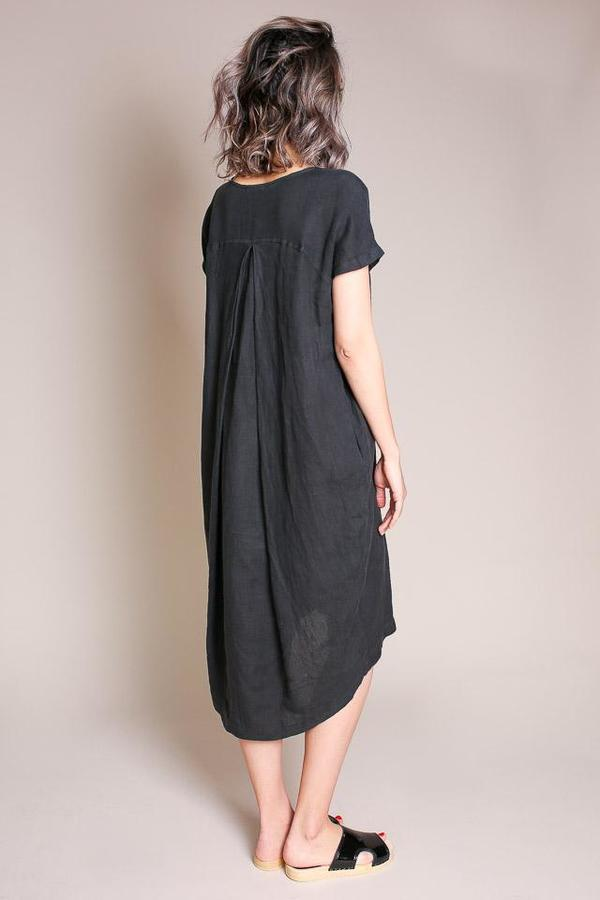 Black Crane Pleated Cocoon Dress - Green/Black