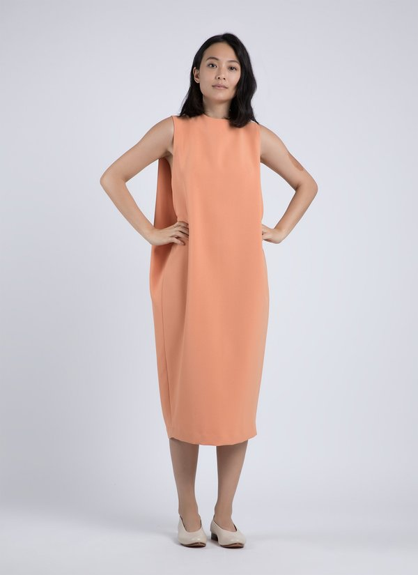 KAAREM Dill High Collar Dress - Papaya