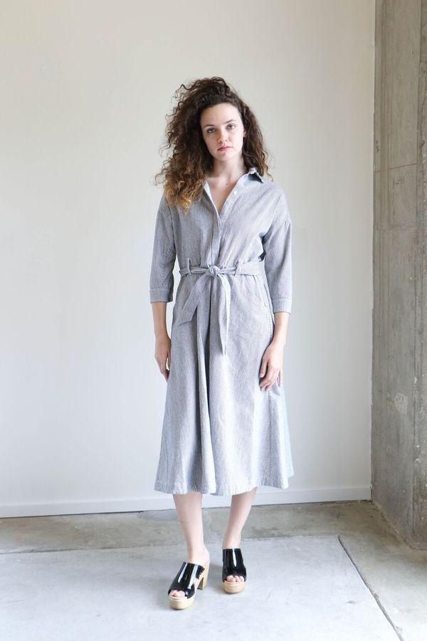 Esby Mabel Dress in Indigo Stripe