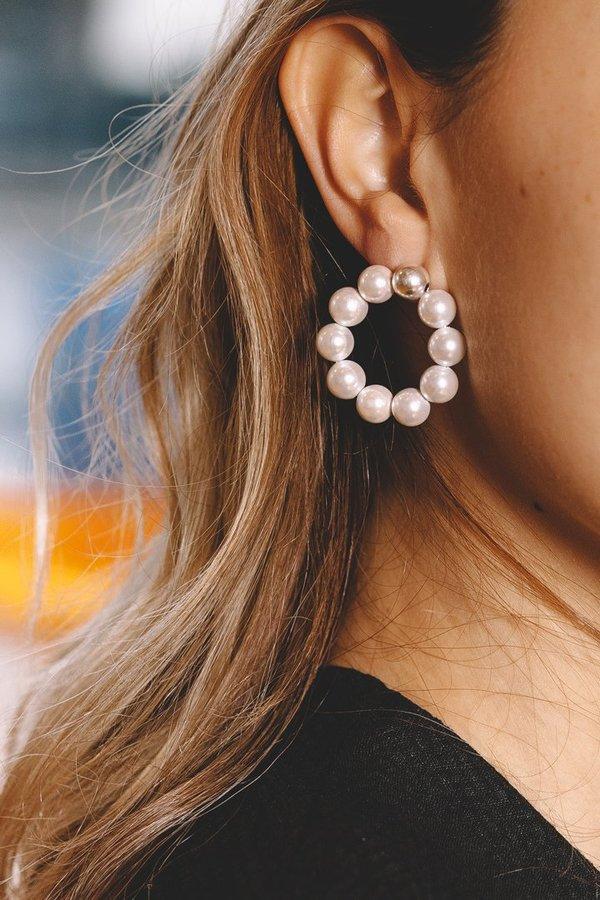 Mirit Weinstock Pearl Hoops - White Pearls