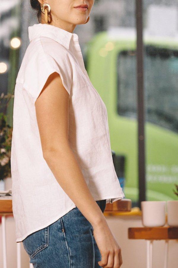 Esby Stella Sleeveless Button Down - White