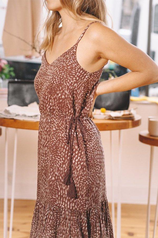 Voloshin Talita Slip Dress - Mocha Mosaic