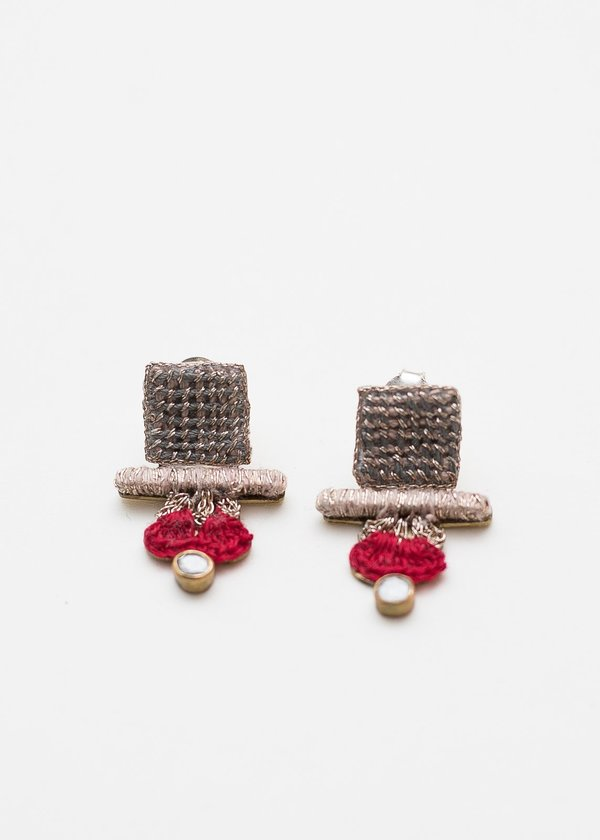 Nani Haveli Small Embroidery Earring - 1