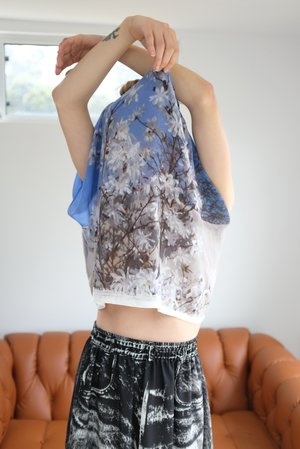 Anntian Silk Top Print Into The Sky