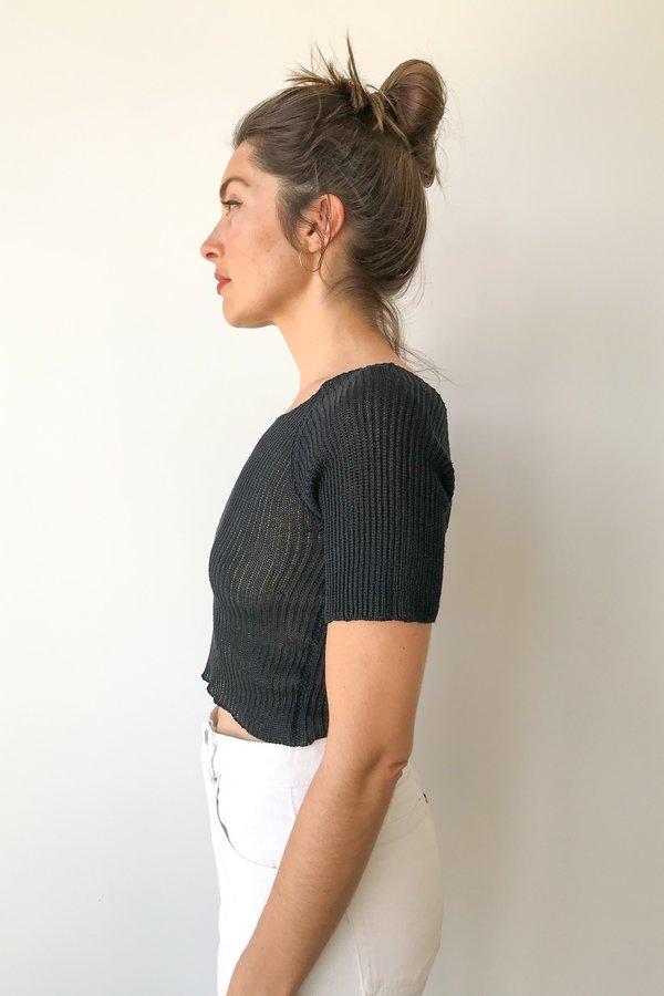 Piper Dalton Designs Piper Dalton Cropped Linen Tee in Black