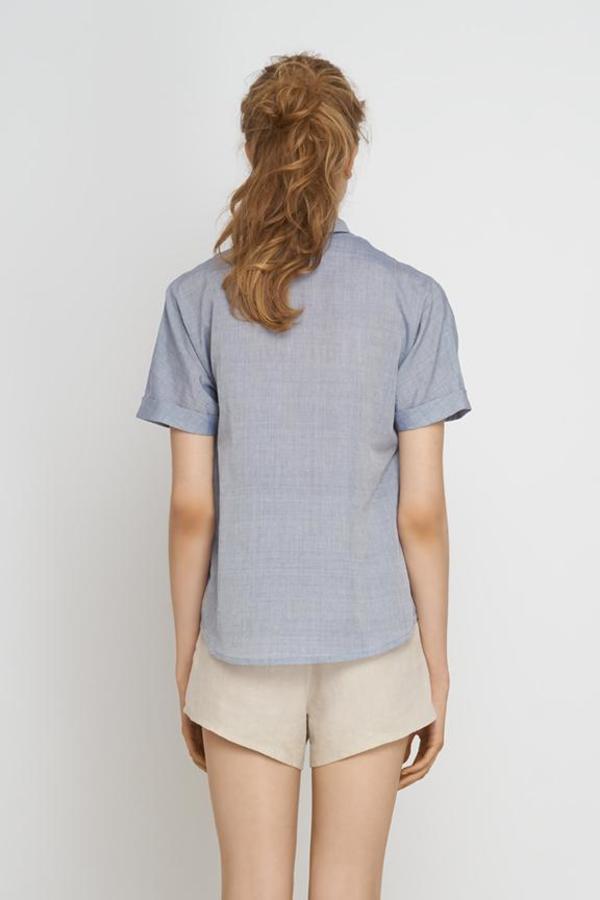 Jungle Folk Tona Short-Sleeve Blouse - Light Blue