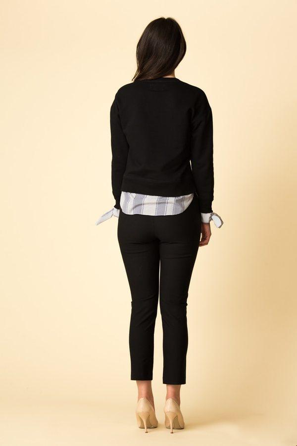 Derek Lam 10 Crosby Long Sleeve Sweatshirt w/ Shirting Tie Detail