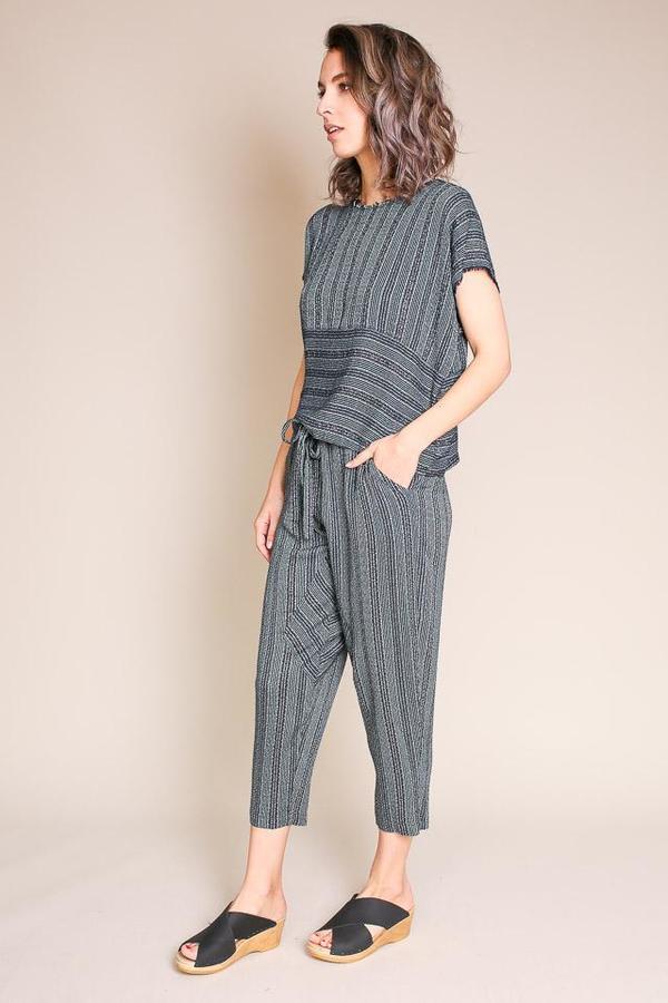 Raquel Allegra Paneled Pant - Forest Stripe