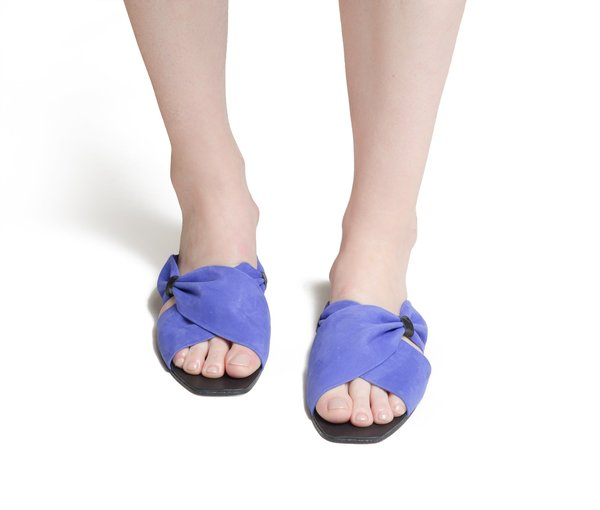 The Palatines theca gathered cross band slide sandal - ultraviolet