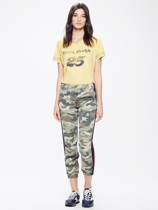 Mother Denim No Zip Misfit Camouflage Pant with Stripe