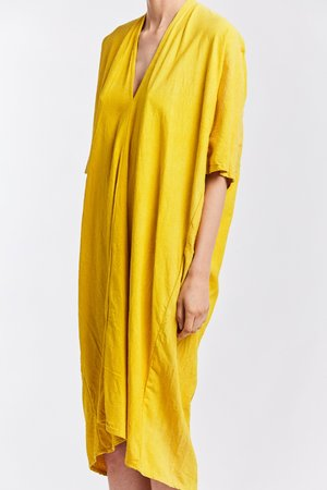 Studio Sale: Muse Dress, Silk Noil in Marigold