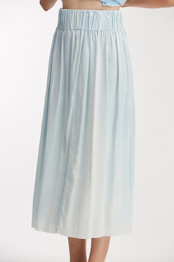 Miranda Bennett Studio Sale: Silk Charmeuse Paper Bag Skirt - Light Indigo