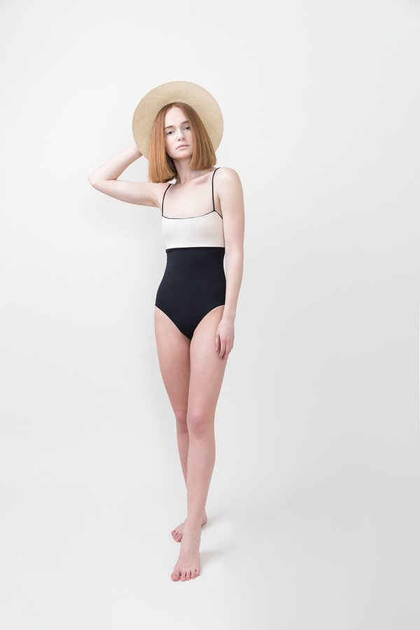 Tavik Scarlett One Piece Swimsuit - Tapioca and Black