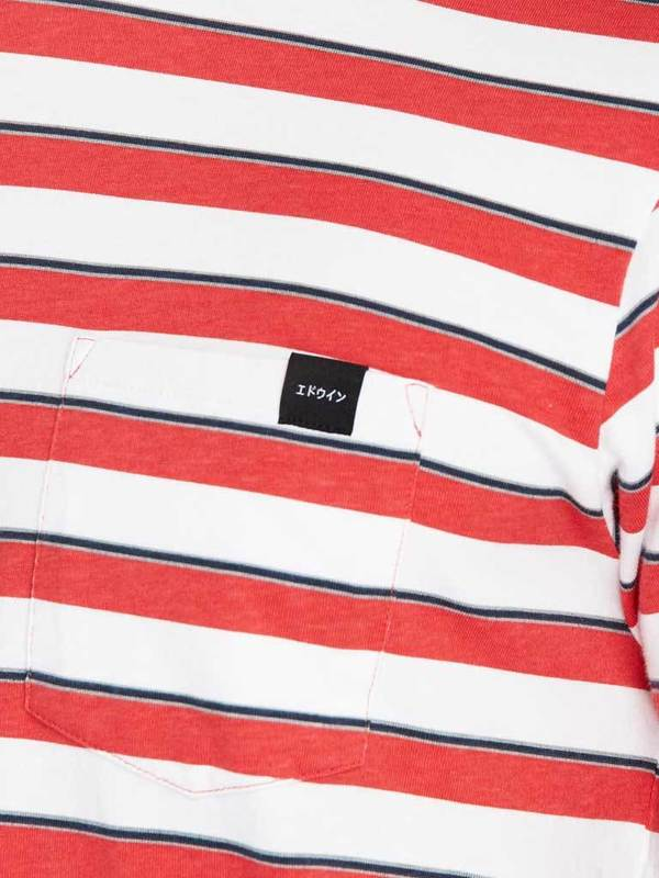 Edwin Pocket T-shirt in Red & White