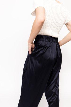 Suzanne Rae Elastic Waist Silk Pants