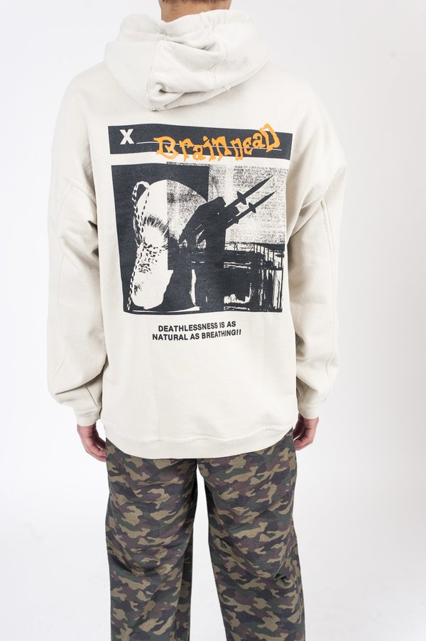 Brain Dead Missile Command Hoodie - Natural Cotton