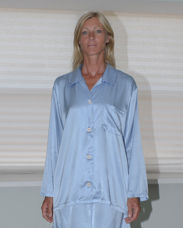 Baserange Nogales Silk Shirt - BLUE EVEREST