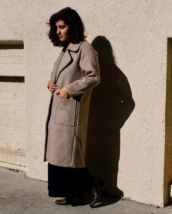 7115 by Szeki Signature Long Wool Coat in Oatmeal