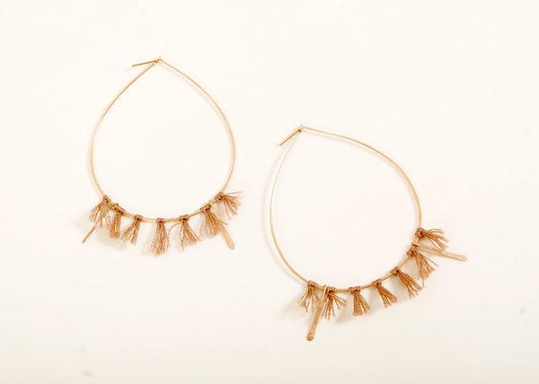 Minerva Gold Hoop Earring with Tassel
