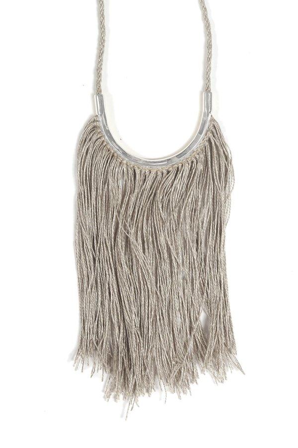 Lunate Fringe Natural Flax & Silver