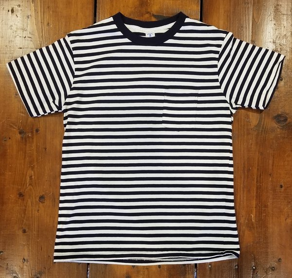 Velva Sheen Narrow Boarder S/S Tee w/Pocket - Navy/White Stripe