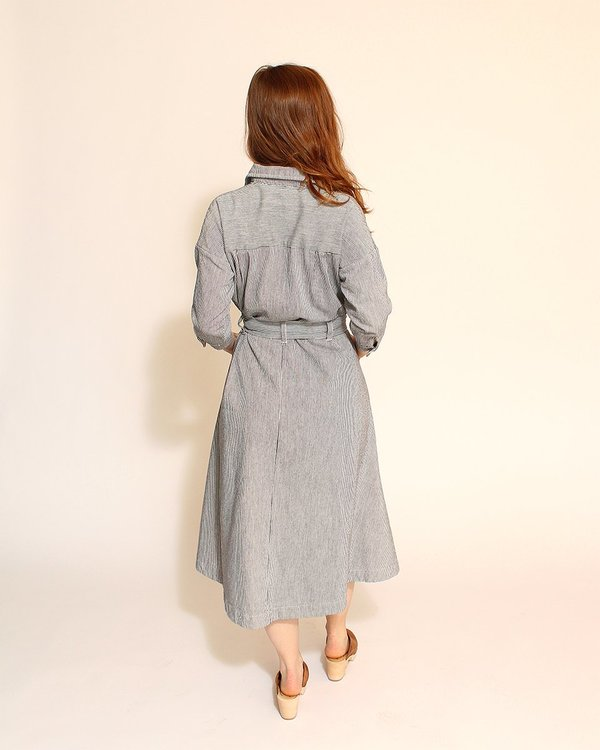 Esby Mabel Shirt Dress in Indigo Stripe