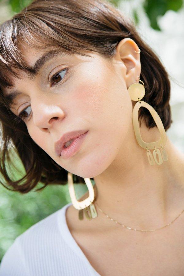 Modern Weaving Brass Odd Oval Fringe Earrings