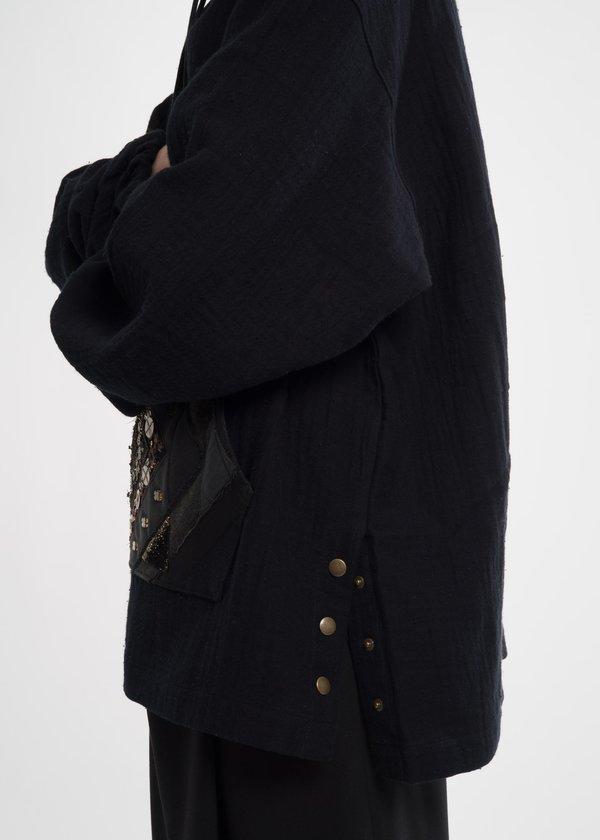 Hyein Seo Black Beaded Hoodie