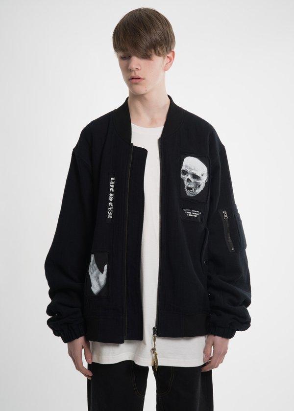 Hyein Seo Black Patchwork Bomber Jacket