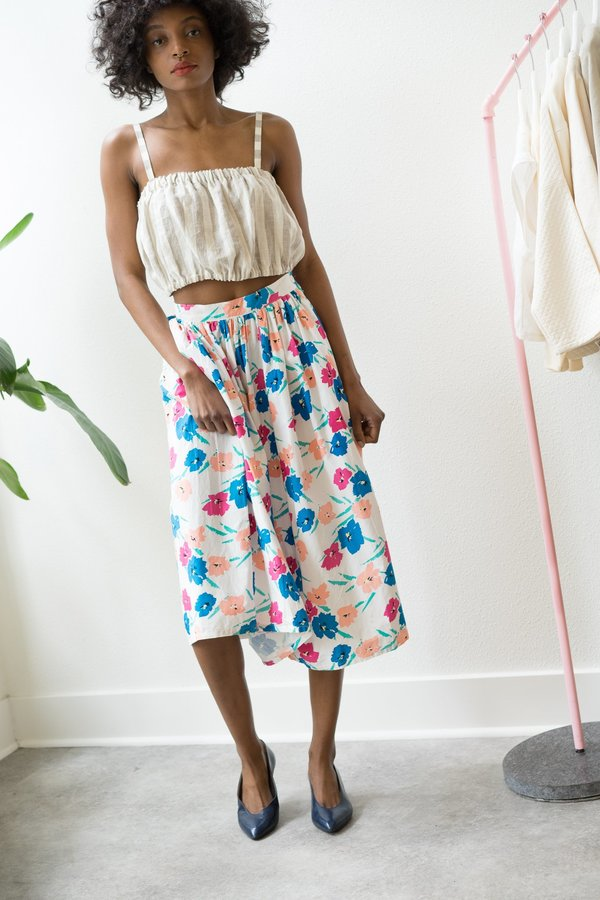 Vintage High Wasted Floral Print  70'S Skirt S