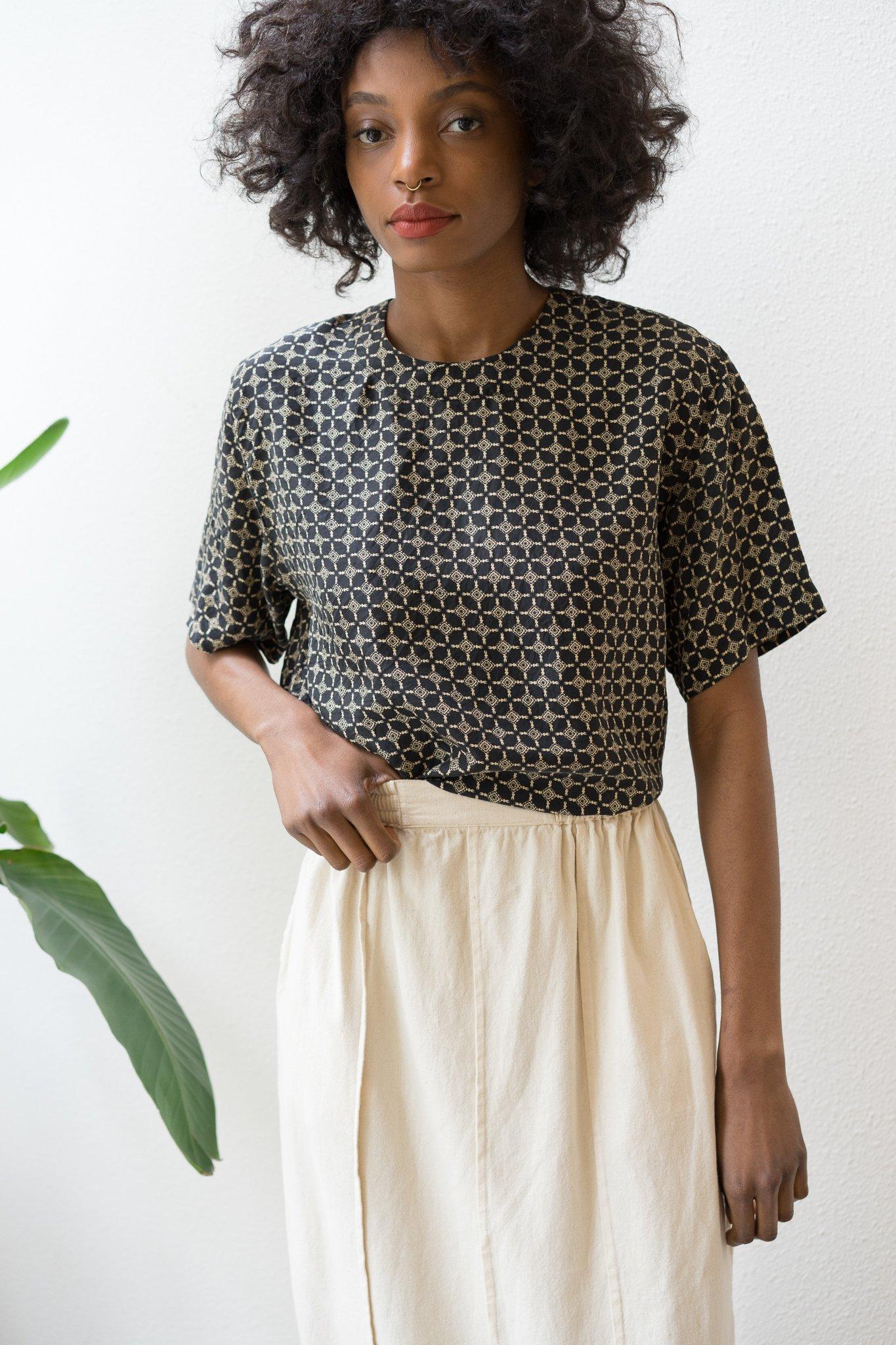 Backtalk PDX Vintage Silk Blouse Pattern Black