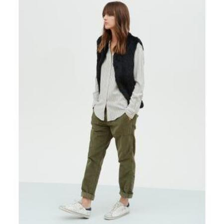 Hartford Cotton Campbell Shirt - Black Stripes/Off White