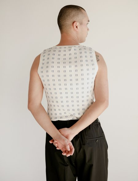 Marni Sleeve Less Crew Neck Sweater - Milk Denim Squares