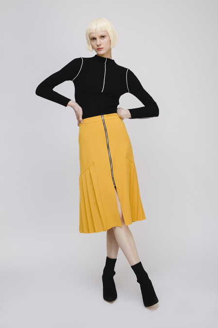 Fansilanen Pleated Midi Skirt with Zip Detail