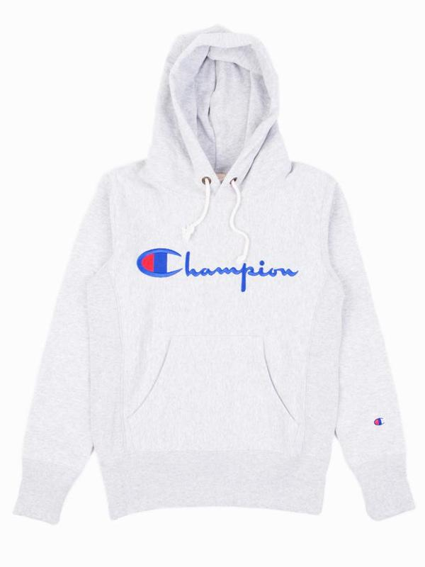 174861fb1591 ... Script Pullover Hood Sweatshirt - Grey. sold out. Champion Reverse Weave