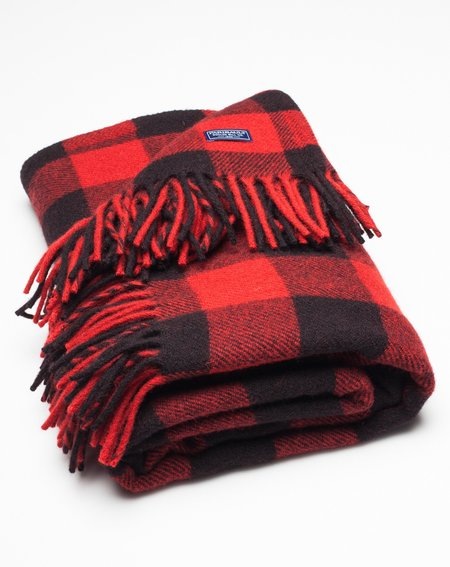 Faribault Woolen Mill Buffalo Throw - Black/Red