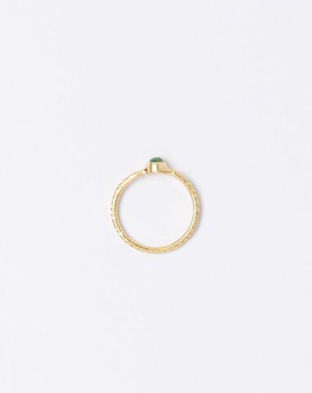 Ida James Hammered Solitaire Emerald Ring - Brass