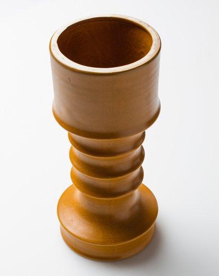 Vintage Ribbed Vase - Mustard