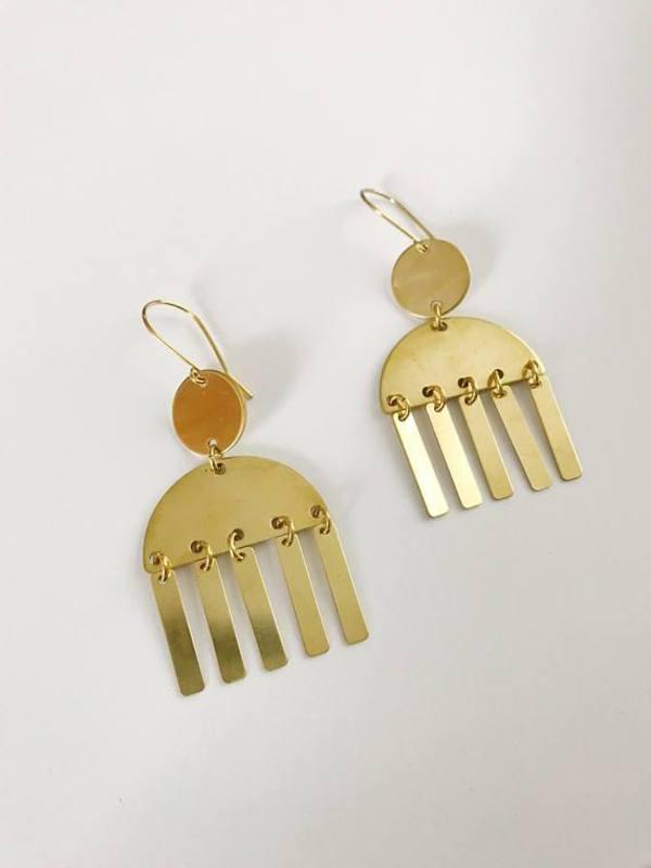 Pegs Hardware Rah Earrings - Brass
