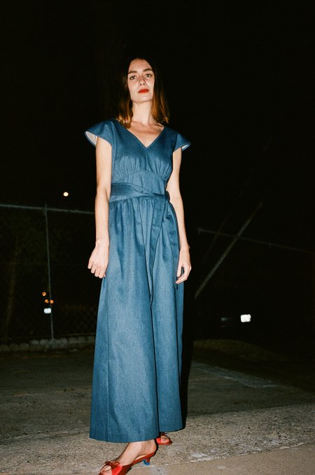 No.6 Diana Wrap Jumpsuit - Blue Denim