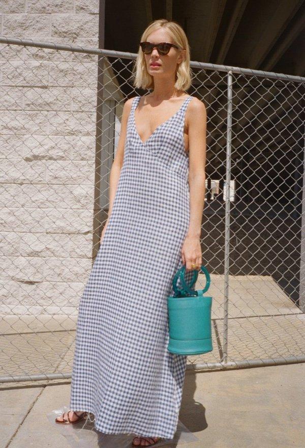 R13 Long Slip Dress - Gingham