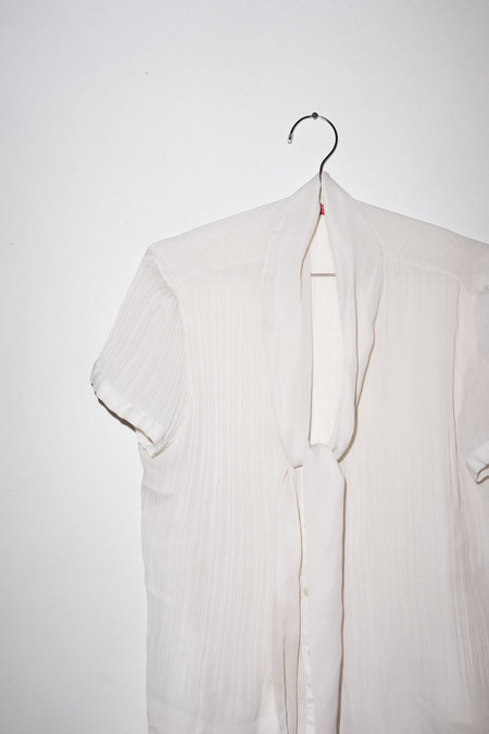 Vintage Pleated Button Up - White