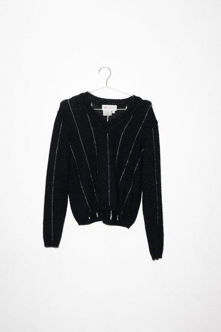 Vintage V-neck Sweater - Black/White Stripe
