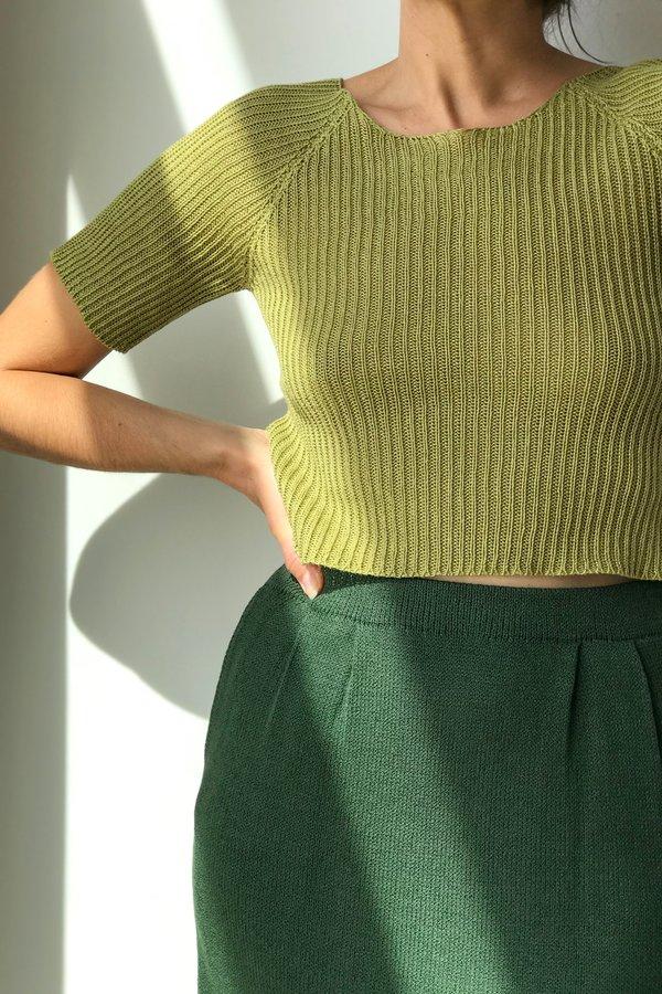 Piper Dalton Designs Piper Dalton Cropped Linen Tee in Avocado