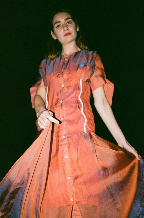 Maki Oh Silk Chiffon Dress with Wavy Bias Detail - Two Tone