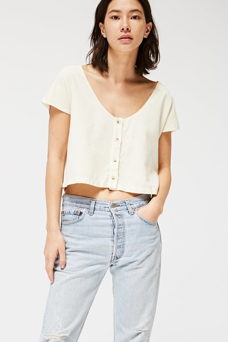 Lacausa Reversible Silk Top - Natural