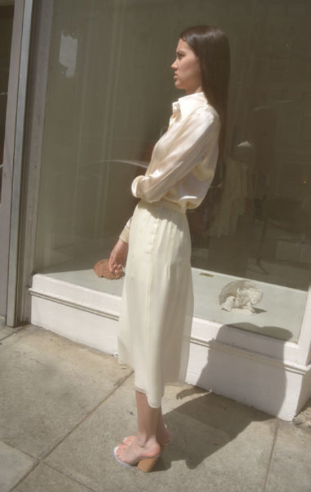 Carven Silk Georgette Skirt - Cream