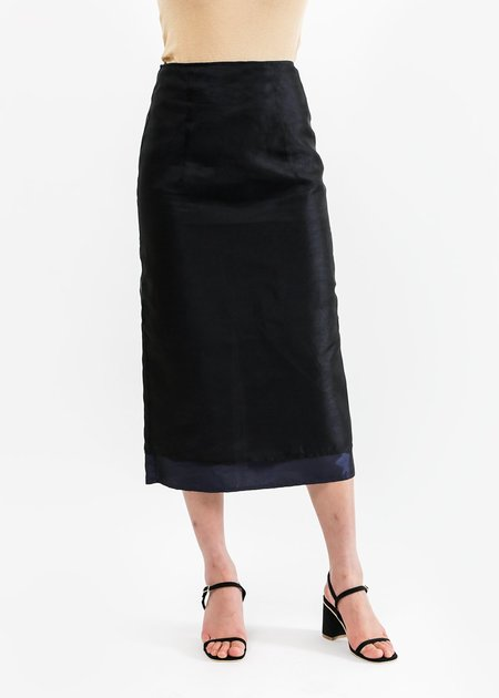 Suzanne Rae Double Layer A Line Skirt in Black Organza
