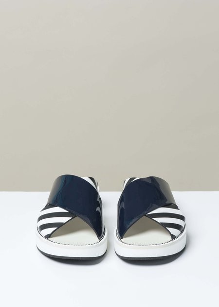 Flamingos Mama Slide Sandal - Navy Patent/Stripe