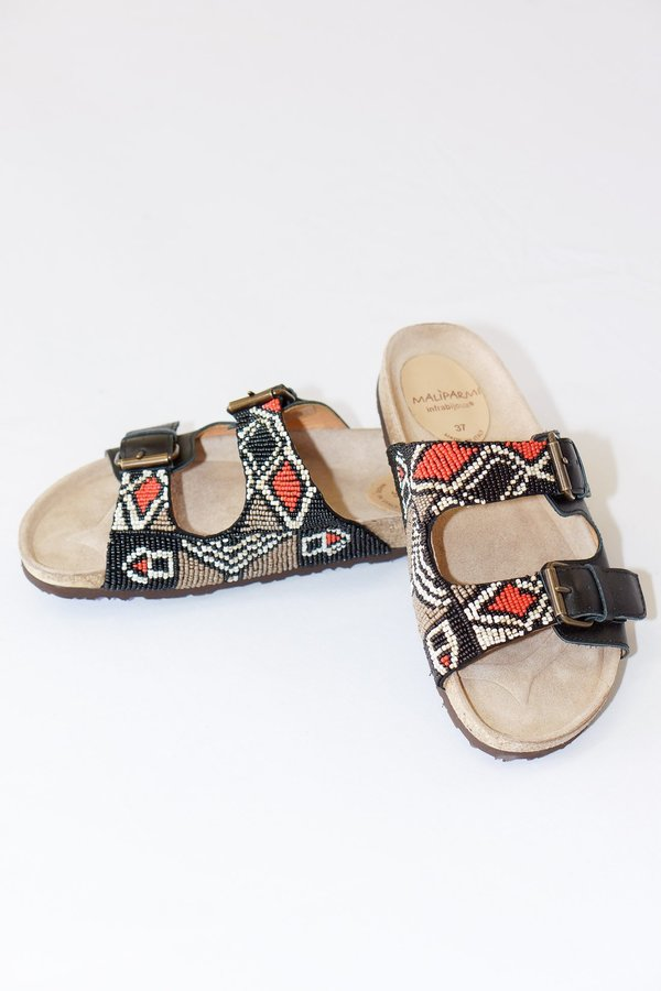 9b02122a19f5 Maliparmi Hand Beaded Infrabijoux Leather Slide Sandals